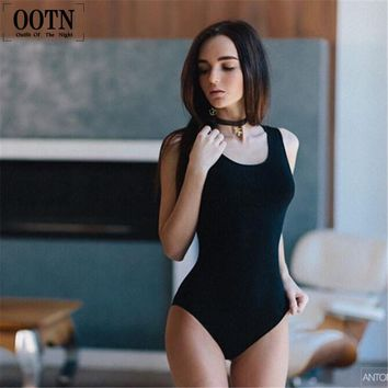 OOTN 2016 Summer womens casual cotton O-Neck skinny solid bodysuits Fashion autumn high quality black knitted leotard jumpsuits