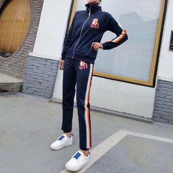 """Moschino"" Women Casual Fashion Cartoon Pony Rainbow Stripe Embroidery Letter Long Sleeve Zip Cardigan Trousers Set Two-Piece Sportswear"
