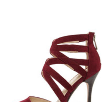 Anne Michelle Spiral 30 Oxblood Suede Caged High Heels