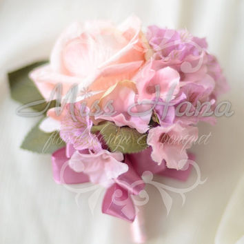 Pink Rose pale pink hydrangea boutonnieres / Wrist corsage Wrapped In Satin Ribbon Silk Arrangement Rustic Chic Romantic Elegant