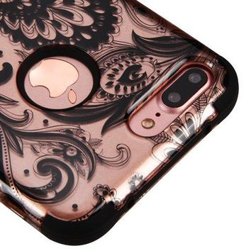 For iPhone 7 Plus Case, Kaleidio [TUFF] Rugged Shockproof Hybrid 3-Piece Dual Layer Protective Heavy Duty Armor Cover [Includes a Overbrawn Prying Tool] [Rose Gold Paisley Design]