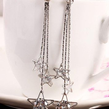 Faux Zircon Star Fringed Long Chain Drop Earrings