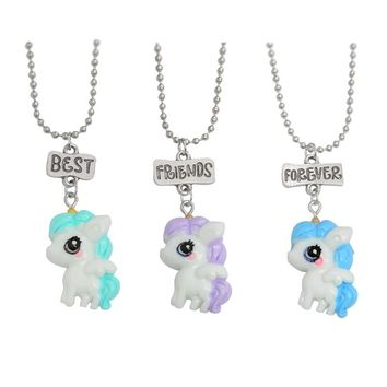 3pcs/set Best friends forever Necklace Cartoon Cute Horse Necklace set Key chains BFF Keyring for Friends Kids Women Men Gifts