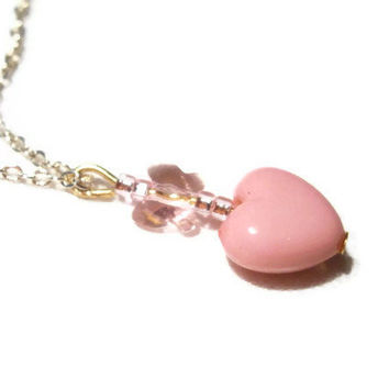 Pink Heart Necklace with Silver Tone metallic Chain, Acrylic Heart, Seed Beads and Crystal Butterfly, for Tweens, Teen Girls, Women