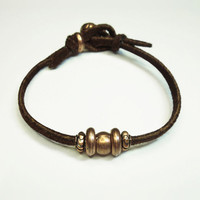 Men's bracelet - Mens suede leather bracelet - Copper-color pewter beads on brown suede leather - Gift for him - Bohemian boho