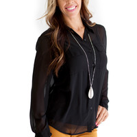 Sheer High-Low Blouse Black