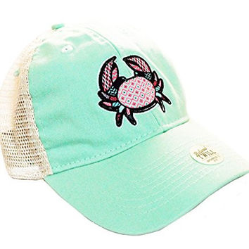 Southern Fried Cotton Pattern Crab Women's Trucker Hat-spearmint