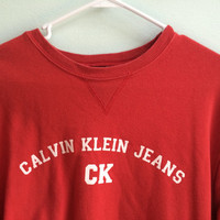Red Calvin Klein Crew Neck Sweater