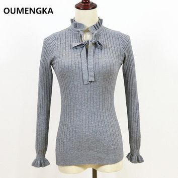 Casual Slim Sweater Women Knitting Pullovers Lace Up Long Flare Sleeve Ruffle Knitting Pullover Winter Woman Sweater