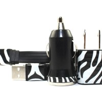 Zebra Print Mobile Phone Charger for Android Devices - Samsung, HTC, Sony Ericsson