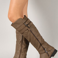 Dress-28 Round Toe Buckle Riding Knee High Boot