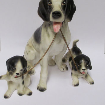 Vintage Lipper Mann  Dog Set 3pc Dalmatian  Momma and Puppies Japan 1950s
