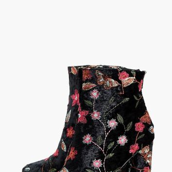 Sophia Embroidered Velvet Ankle Boot | Boohoo