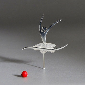 Dancing in the Moonlight Ballerina Pin Sterling Silver Brooch Elegant Minimal Abstract Dancer Female Figure Design Gift for Mother
