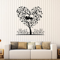 Vinyl Wall Decal Romantic Tree Love Heart Art Room Stickers Unique Gift (359ig)