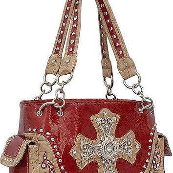 Cross Leather Designer Fashion Bling Western Stitch Rhinestone Stud Flower Trendy Purse Handbag Red Beige