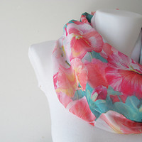 Floral Circle Scarf, Chiffon Infinity Scarf, Women Loop Scarf, Floral Shawl, Fall Winter Spring Summer Fashion, Gift for Her