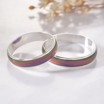 MJARTORIA 1PC 12 Color Changing Mood Rings Bright Silver Tone Temperature Emotion Feeling Rings For Women/Men Fashion Jewelry