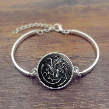 DCCKHY9 Glass Cabochons bracelets & bangles Game of Thrones House Targaryen Silver Fashion Jewelry Adjustable Charm Bracelet
