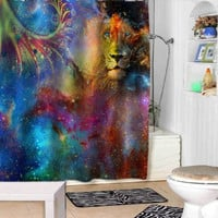 lion galaxy shower curtains adorabel bathroom and heppy shower.