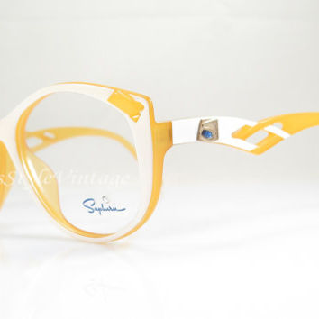 Saphira , Vintage Eyeglasses , Yellow And White , Hipster , Avant-Garde , Christmas Gift , Cat Eye Kitty , Nos , Frames