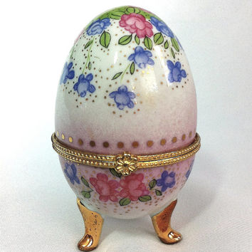 Vintage Egg Trinket Box Egg Jewelry Box Porcelain Egg Victorian Egg Footed Egg Easter Egg Ring Box Treasure Box Pink Flowers Blue Pill Box