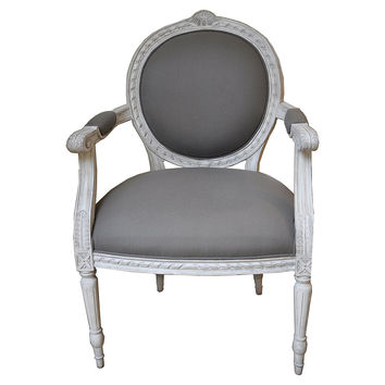 Agostino, French Louis-Style Carved Armchair, Gray, Arm Chairs