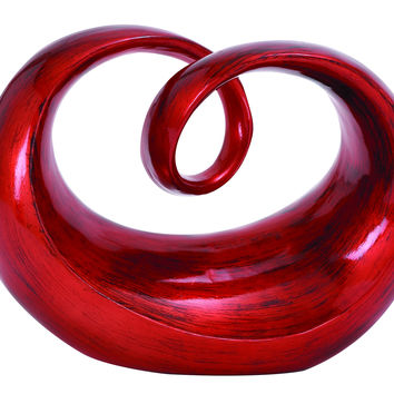 Contemporary Polystone In Round Shape Abstract Sculpture In Red