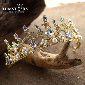 Baroque Gold AB Colorful Beads Wedding Tiara Crown Cosplay Headpiece