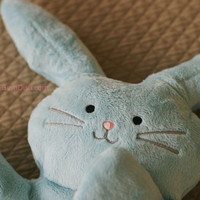 "Bunny Rabbit Blue Plush Softie, ""Flat Little Bunny Rabbit"""
