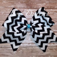 """3"""" Black and White Chevron Cheer Bow (Pick Your Center Color)"""