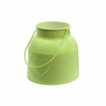 """11"""" French Countryside Lime Green Iron Candle Holder Lantern with Die Cut Hearts"""