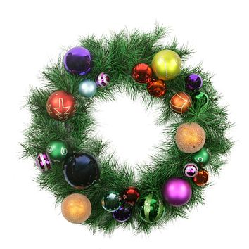 "24"" Pre-Decorated Multi-Color Ball Ornament Long Needle Pine Artificial Christmas Wreath - Unlit"