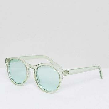 AJ Morgan Round Sunglasses with Tinted Green Lens at asos.com