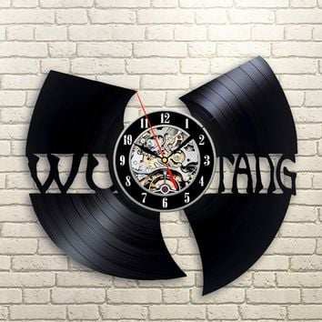 The Wu Tang Clan Music Vinyl Record Sticker Style Wall Clock - Decorate your home with Modern Rap Clan Logo Art - Gift for frien