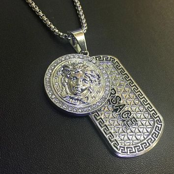 8DESS Versace Women Fashion Diamonds Necklace Jewelry