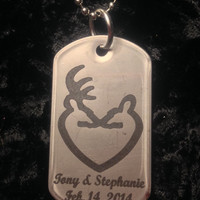 Laser Engraved Buck & Doe Heart Stainless Steel Dog Tag