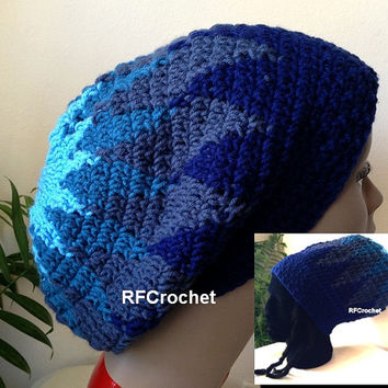 Oversized Beanie Blue Triangle | Dreadlock Hat | Adult Crochet Beanie | Slouchy Beanie | Locs | Rasta Tam | Custom Orders for Colors Welcome