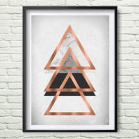 Gray Printable Art Abstract Poster Geometric Triangle Wall Art old paper texture Rose Gold Print Scandinavian Poster Geometric Decor *196*