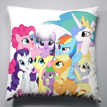 Anime Manga My Little Pony Rainbow Horse Pillow 40x40cm Pillow Case Cover Seat Bedding Cushion 011