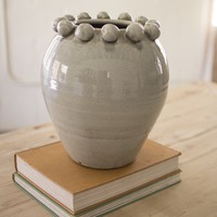 Ceramic Vase With Ball Detail At Opening ~ Grey