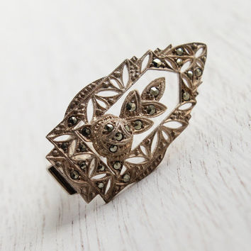 Antique Art Deco Sterling Silver Dress Clip - 1920s 1930s German Marcasite Filigree Pin / Floral Rose