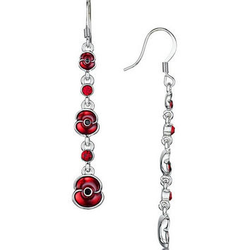 """1/2"""" Ruby Red Enamel Poppy Studs Earrings White Gold Tone UK Remembrance Day Souvenir Top Quality"""
