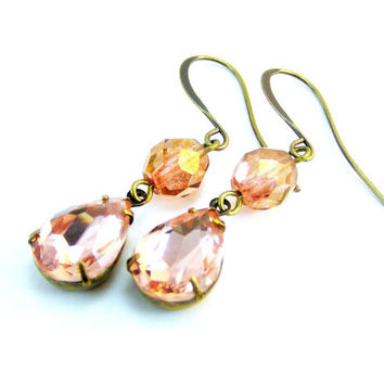Vintage Glass Earrings, Drop Earrings, Vintage Rhinestone Earrings, Prom Jewelry, Pink Champagne