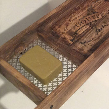 Bath Tray , Made to Order , Recycled Pallet Wood , Rustic Style Bath Rack , Dark Stained Wood Bath Caddy