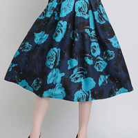 Royal Blue Floral Midi Skirt with Belt