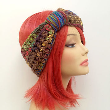 FREE SHIPPING - Crochet Knotted Turban Ear Warmer Headband - Tan, Rainbow, Pink, Orange, Yellow, Gold, Green, Blue Purple, Violet