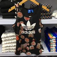 """Adidas"" Women Sports Casual Rose Flower Print Sleeveless Knit Fitness Vest T-shirt Tops"