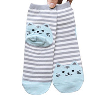 SIF Hot 1 Pair 3D Animals Style Striped Fashion Cartoon Socks Women Cat Footprints Cute Cotton Socks Foot Meias Soks DEC 09