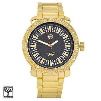 Jewelry Kay style Men's CZ Bling 14K Gold Plated Iced Fashion Metal Heavy Band Watch WM 8675 GBK